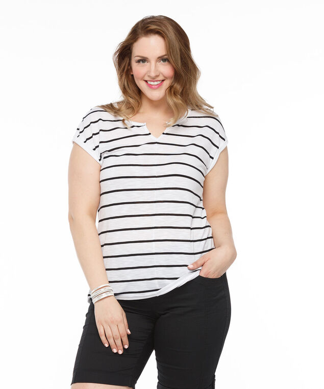 Extended Sleeve Notch Neck Tee, White/Black, hi-res