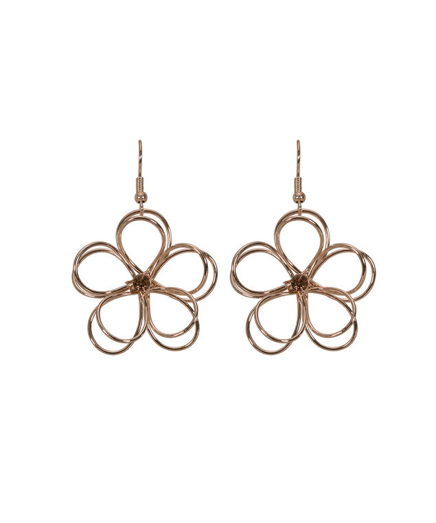 Wire Flower Drop Earring, Soft Rose Gold, hi-res