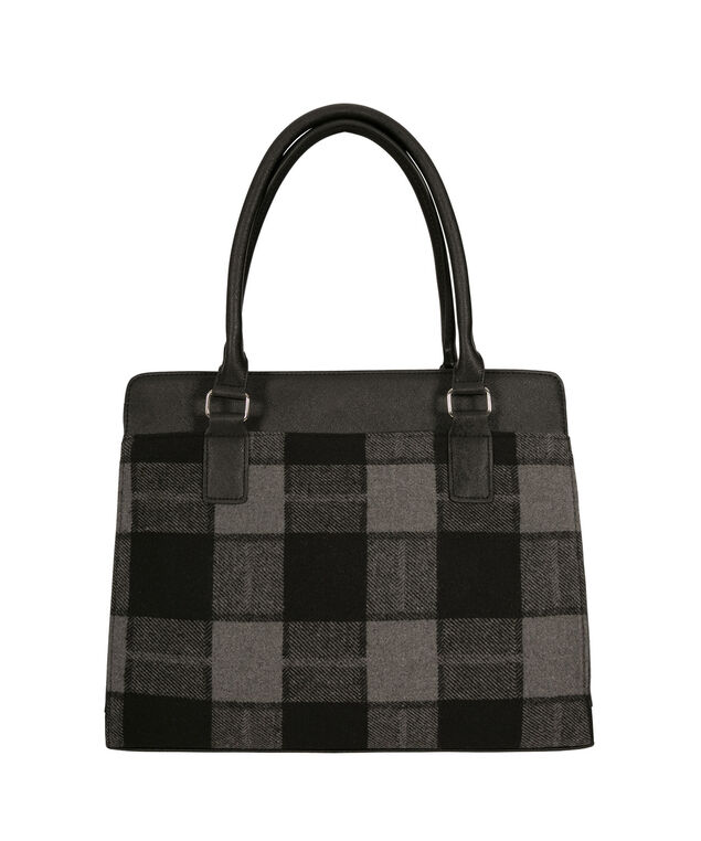 Buffalo Check Satchel, Black/White/Nickel, hi-res