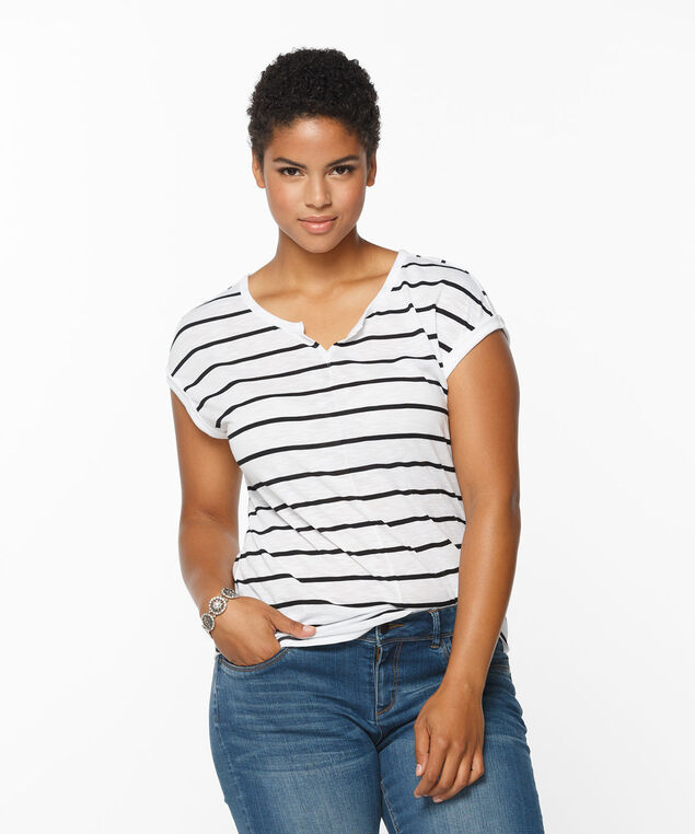 Extended Sleeve Notch Neck Tee, White/Black Stripe, hi-res