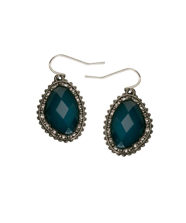 Faceted Stone Drop Earring, Teal/Hematite, hi-res