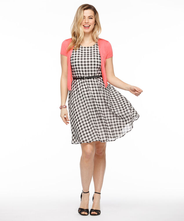 Gingham Print Open Back Dress, Black/White, hi-res