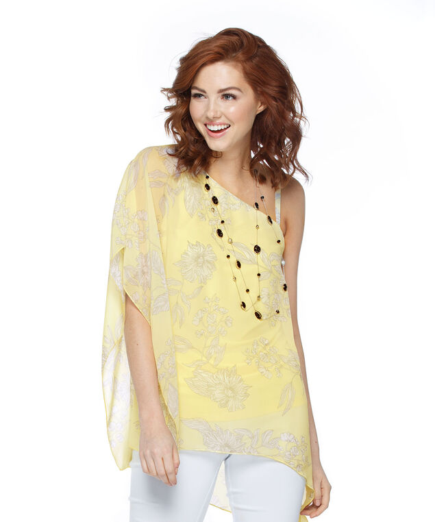 Asymmetrical Cape Overlay Top, Yellow/White Print, hi-res