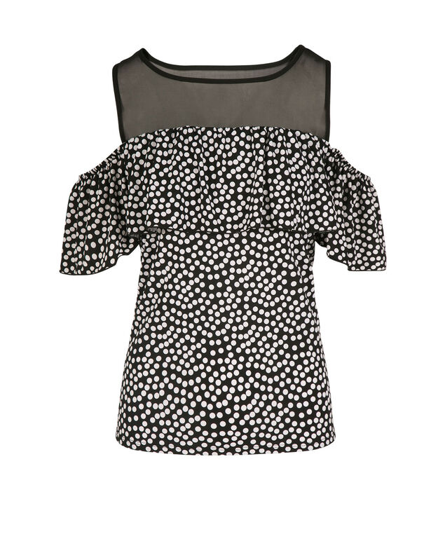 Polka Dot Illusion Neck Cold Shoulder, Black/White Dot, hi-res