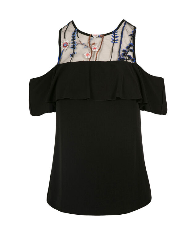 Embroidered Cold Shoulder Top, Black/Patterns, hi-res