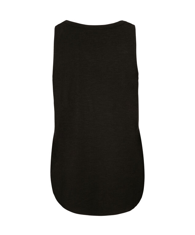 Sleeveless Studded Henley Top, Black, hi-res