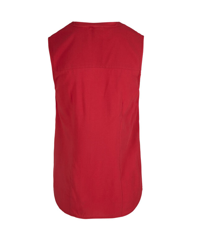 Sleeveless Button Front Henley Blouse, Red, hi-res