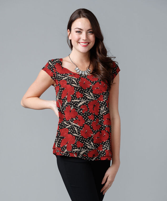 Two Layer Blouse, Crimson Print, hi-res
