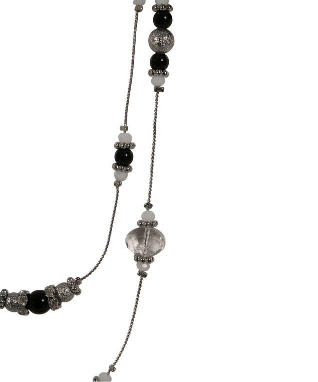Stationed Bead Necklace Set, Black/White/Clear/Rhodium, hi-res