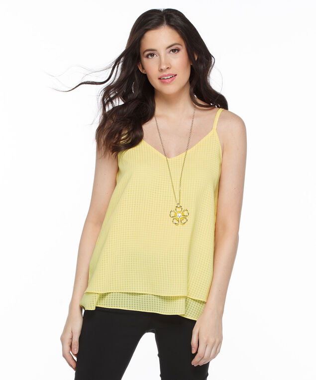 Strappy Double Layer Tank Blouse, Yellow, hi-res