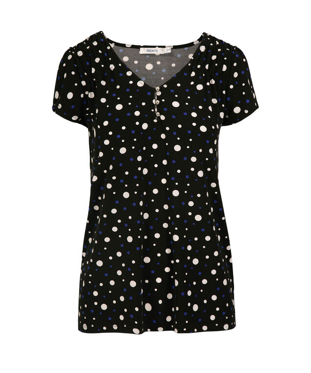 Short Sleeve V-Neck Shirt, Black/Blue/White Dot, hi-res