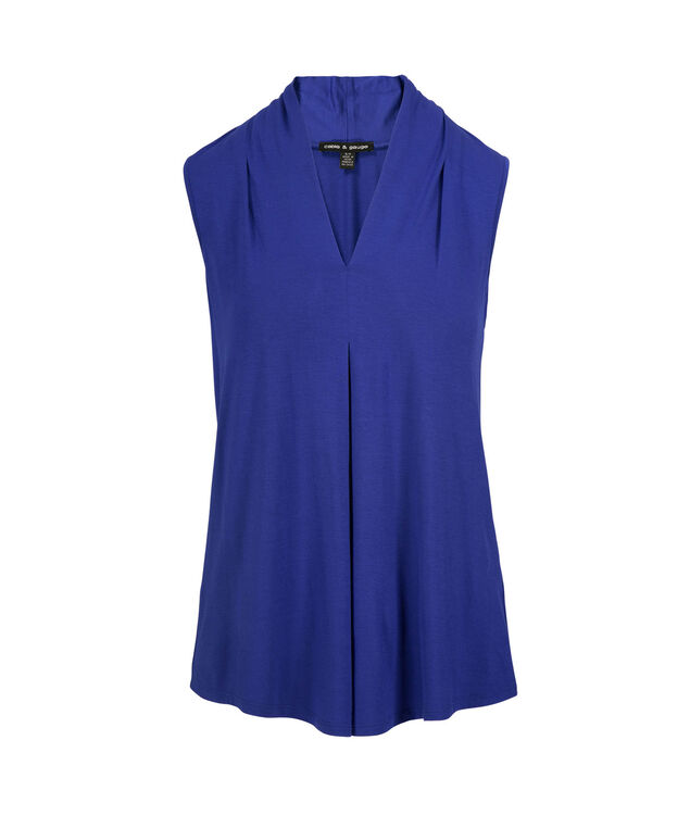 Sleeveless Pleat Top, Blue, hi-res