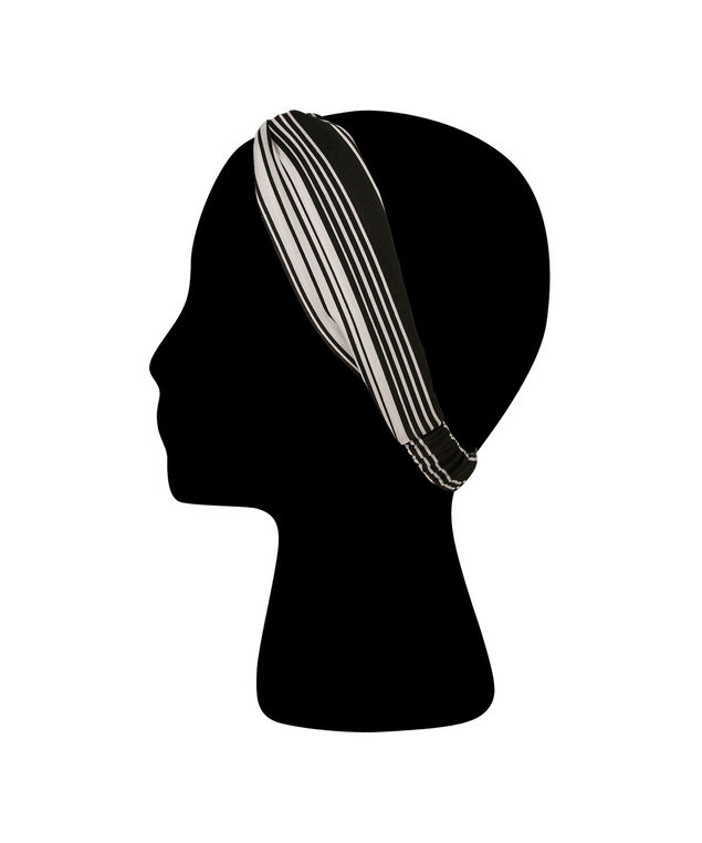 Striped Twisted Head Wrap, White/Black, hi-res