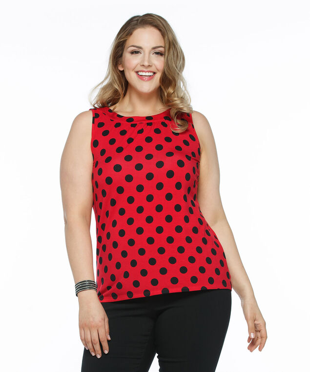 Sleeveless Gathered Neck Knit Tank, Red/Black Dot, hi-res