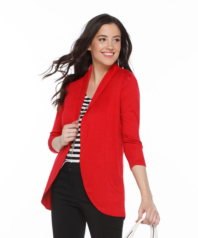 Shawl Collar Cardigan, Red, hi-res