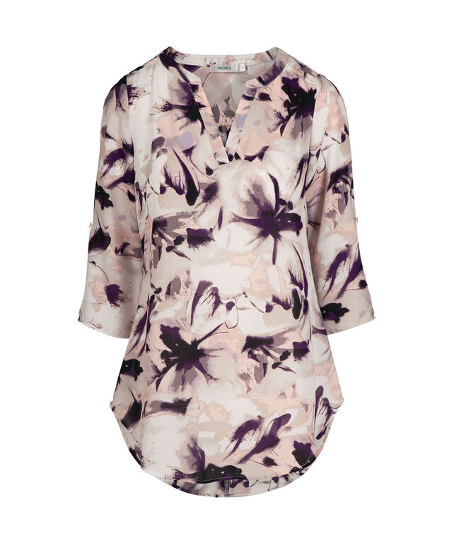 Roll Sleeve Henley Blouse, Light Floral, hi-res