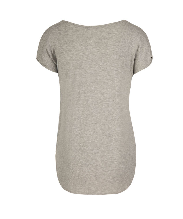 Twisted Cold Shoulder Top, Grey Print, hi-res