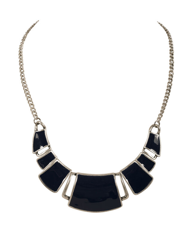Painted Epoxy Necklace, Deep Sapphire/Burnished Silver, hi-res