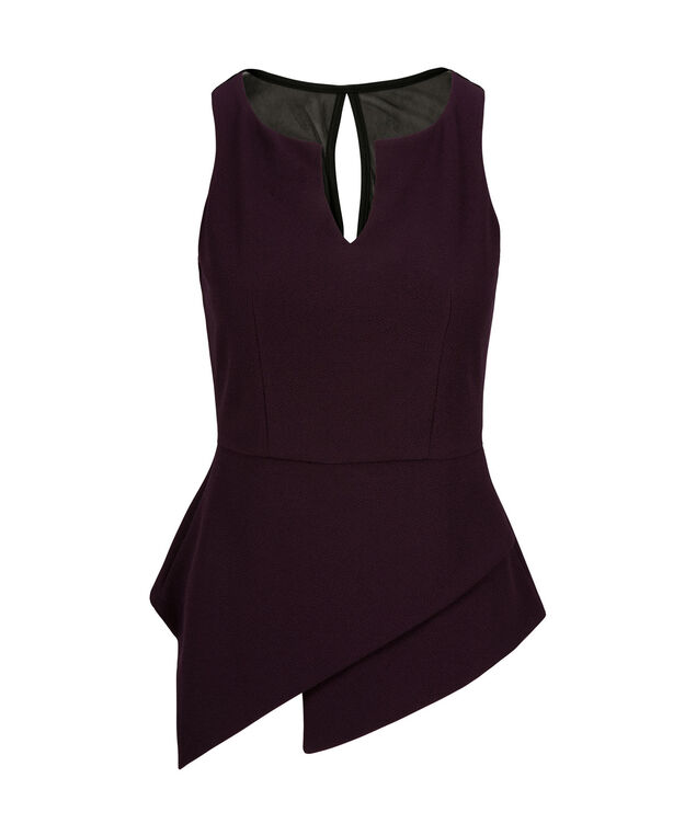 Asymmetrical Peplum Top, Blackberry, hi-res