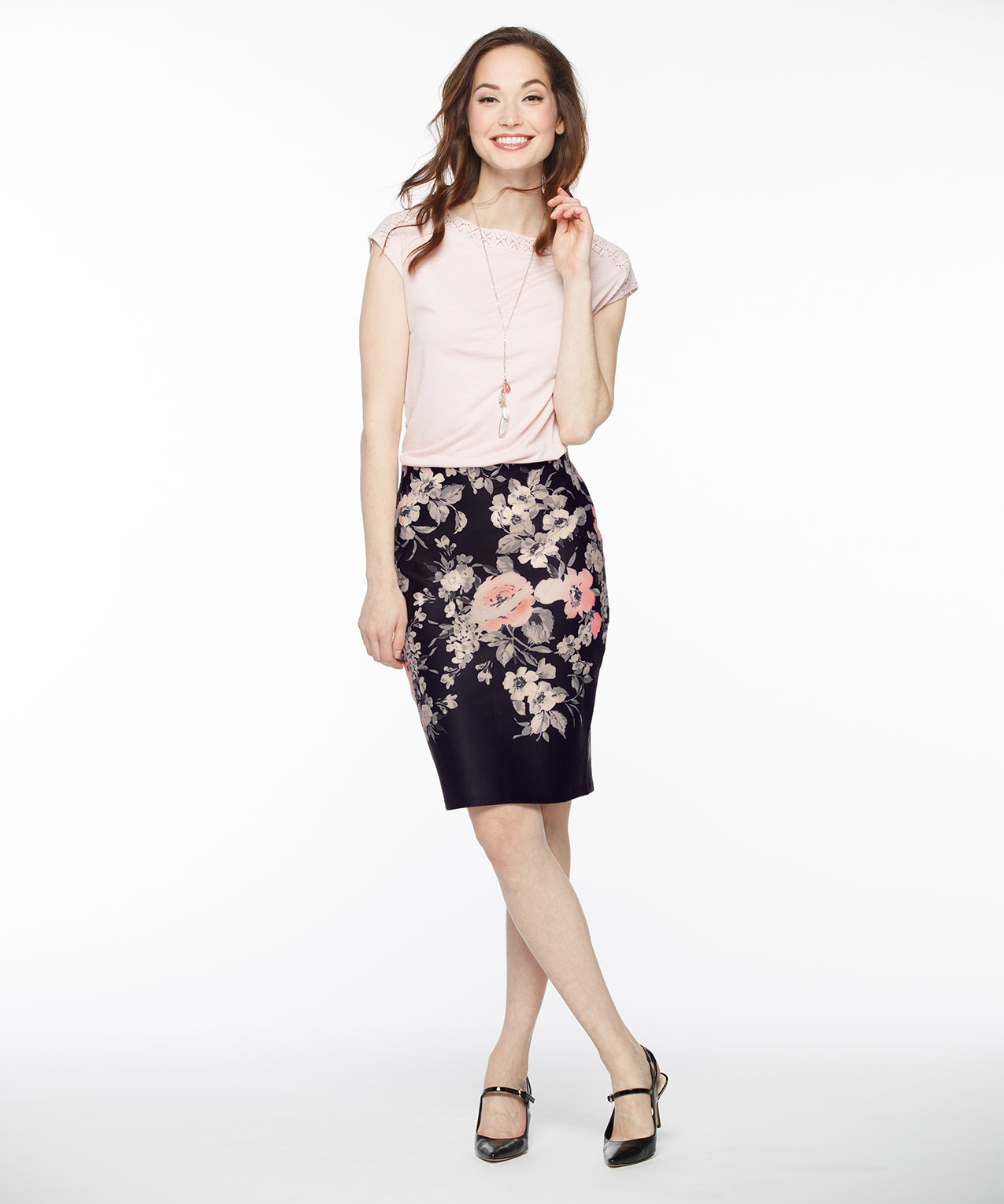 Because of the tight cut closeness to the body, most cheap pencil skirts have a slit or pleat in the rear for easier mobility, while others have a large slit in the front or on both sides. They are made using a large selection of fabrics, leather, suede, cotton, denim, jersey knit, polyester and linen.