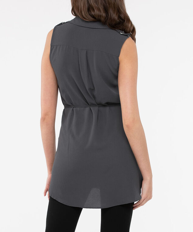 Sleeveless Tie Waist Tunic Blouse, Grey, hi-res