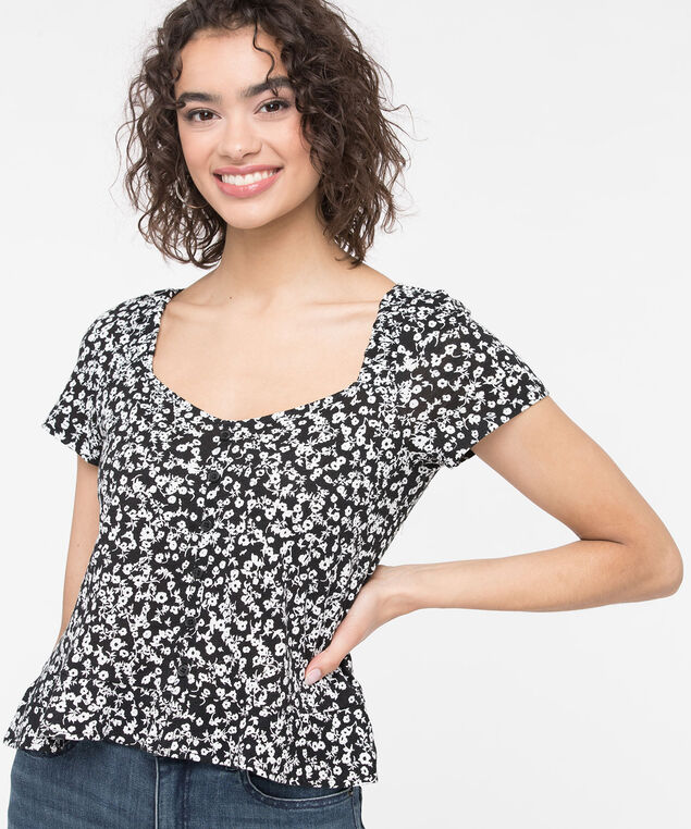 Sweetheart Neck Peplum Hem Top, Black/Pearl, hi-res