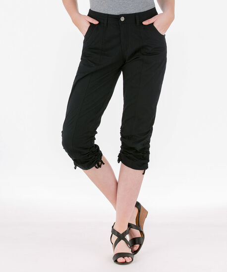 Poplin Double-Ruched Capri, Black, hi-res
