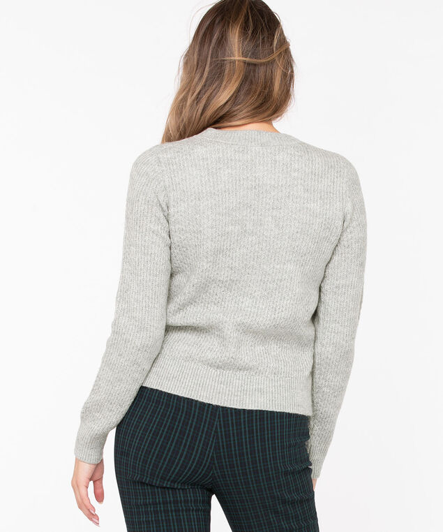 Pom Pom Cable Knit Pullover, Heather Grey, hi-res
