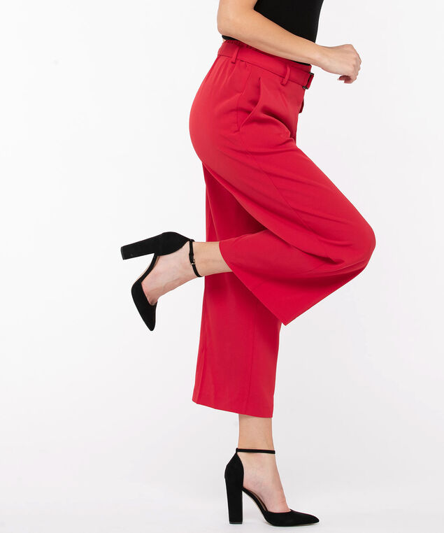 Belted Wide Leg Gaucho, Bright Red, hi-res