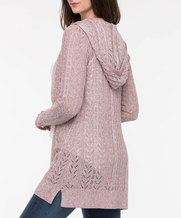 Pointelle Hooded Open Cardigan, Dusty Pink, hi-res