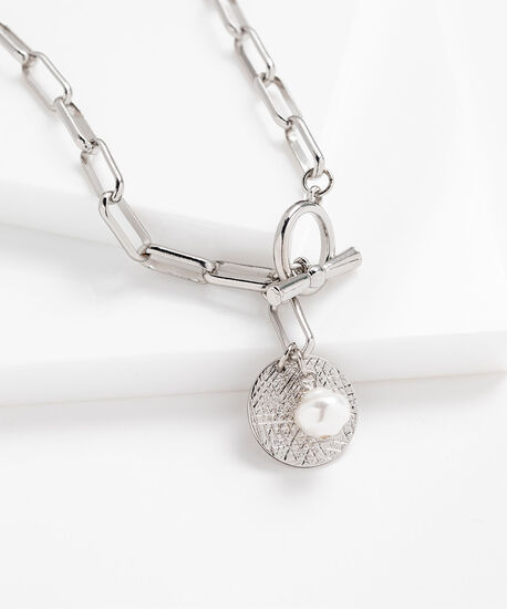 Metal Chain Link Charm Necklace, Silver/Pearl, hi-res