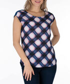 Extended Sleeve Mixed Media Top, Blue/Pink/White, hi-res