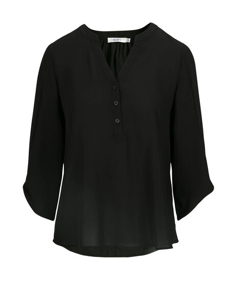 Bow-Sleeve Henley Blouse, Black, hi-res