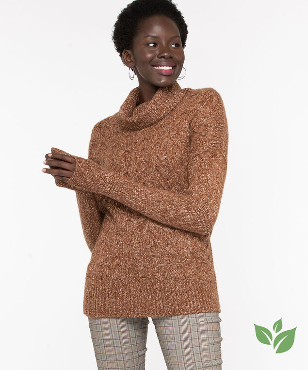 Eco-Friendly Cable Knit Sweater, Biscotti Mix, hi-res