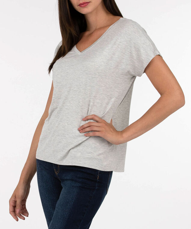 Open Back Detail V-Neck Top, Light Heather Grey, hi-res