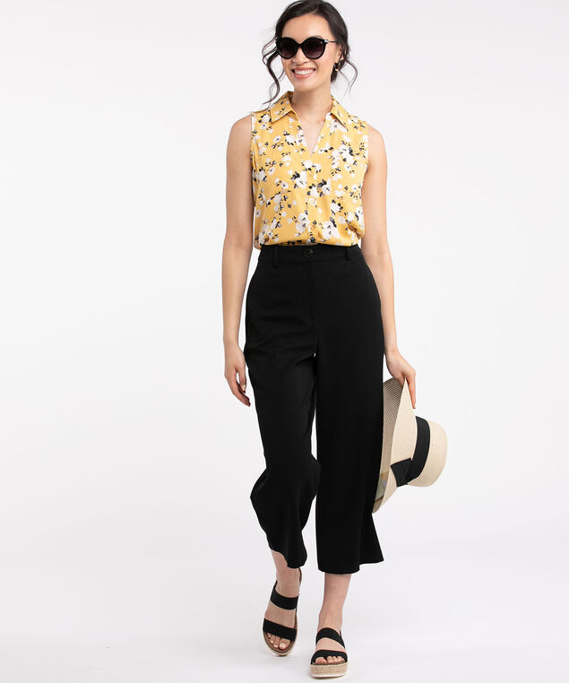Sleeveless Collared Button Front Blouse, Yellow/White Floral