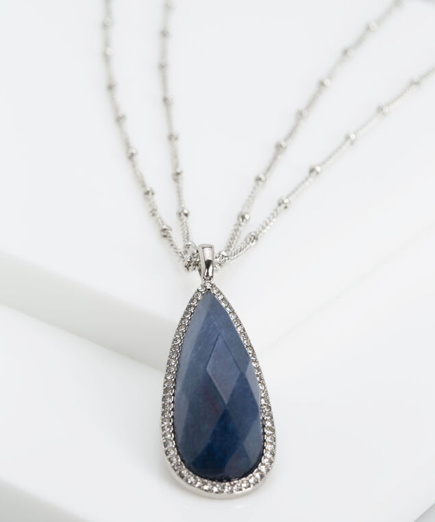 Faceted Stone Teardrop Pendant Necklace, Rhodium/Deep Sapphire, hi-res