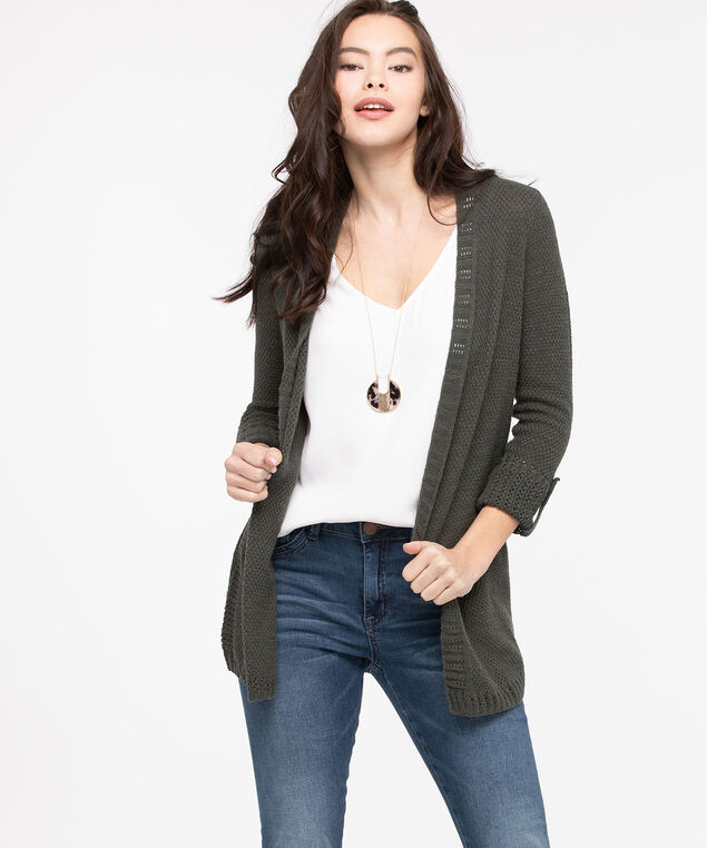 Roll Sleeve Pointelle Open Cardigan, Basil, hi-res