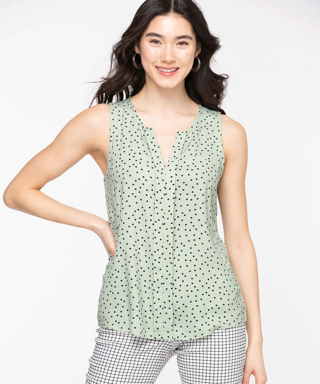 Sleeveless Mixed Media Top, Frosty Green Dot