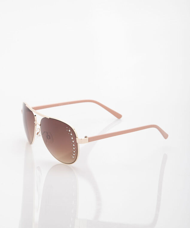 Sparkly Aviator Sunglasses, Peach/Gold, hi-res