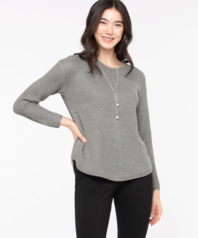 Ribbed Scoop Neck Sweater, Light Grey Mix, hi-res
