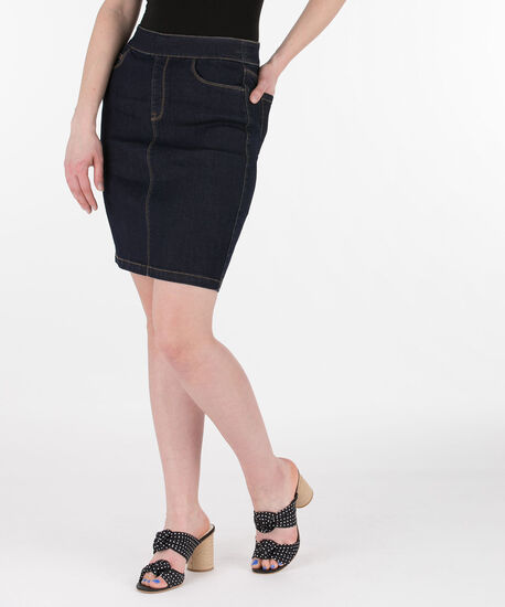 Dark Rinse Pull-On Jean Skirt, Dark Rinse, hi-res