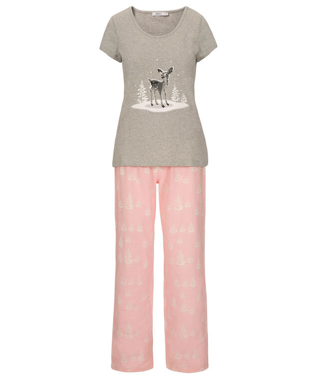 Deer Pajama Set, Misty Pink/Grey, hi-res