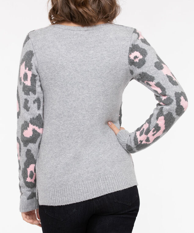 Leopard Print Pullover Sweater, Light Grey/Dusty Blush/Mid Heather Grey, hi-res