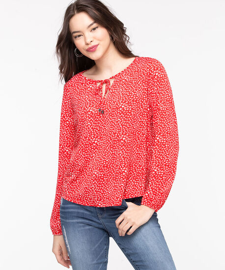 Patterned Peasant Style Top, Poppy Red Hearts, hi-res