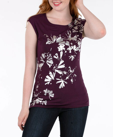 Foil Graphic Extended Sleeve Top, Plum/Silver, hi-res