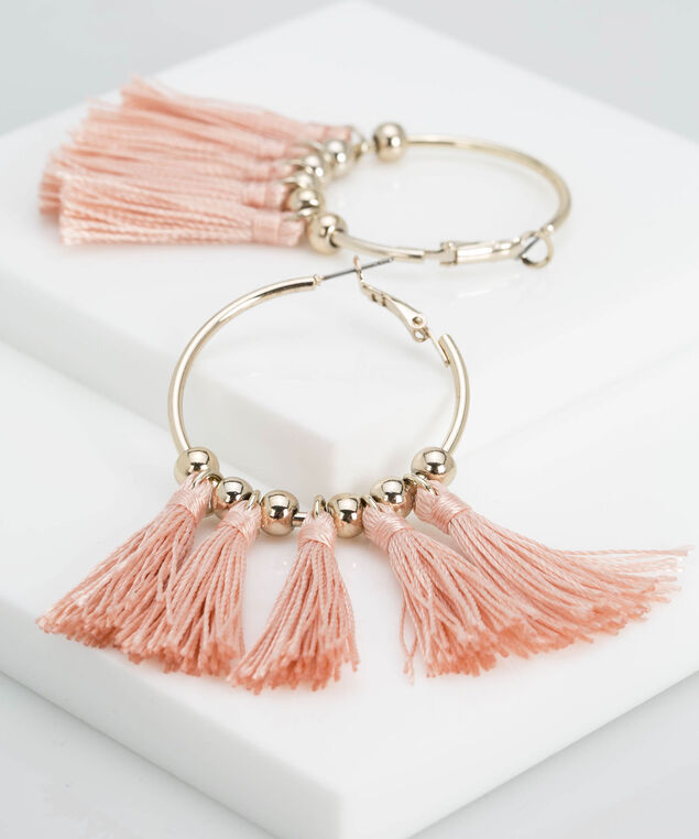 Hoop & Tassel Earring, Gold/Dusty Pink, hi-res
