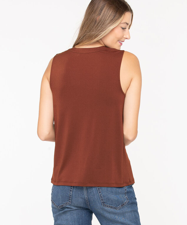 Sleeveless Keyhole Tie-Neck Top, Terra Cotta, hi-res
