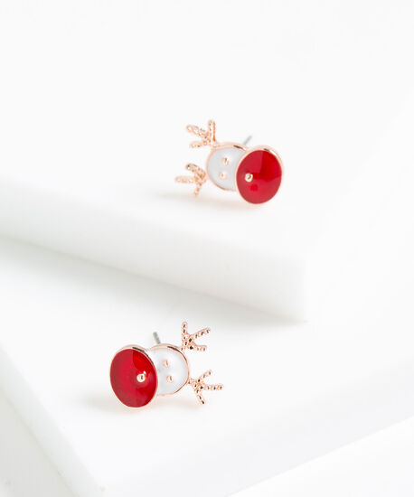 Festive Reindeer Earrings, Red/White/Rose Gold, hi-res