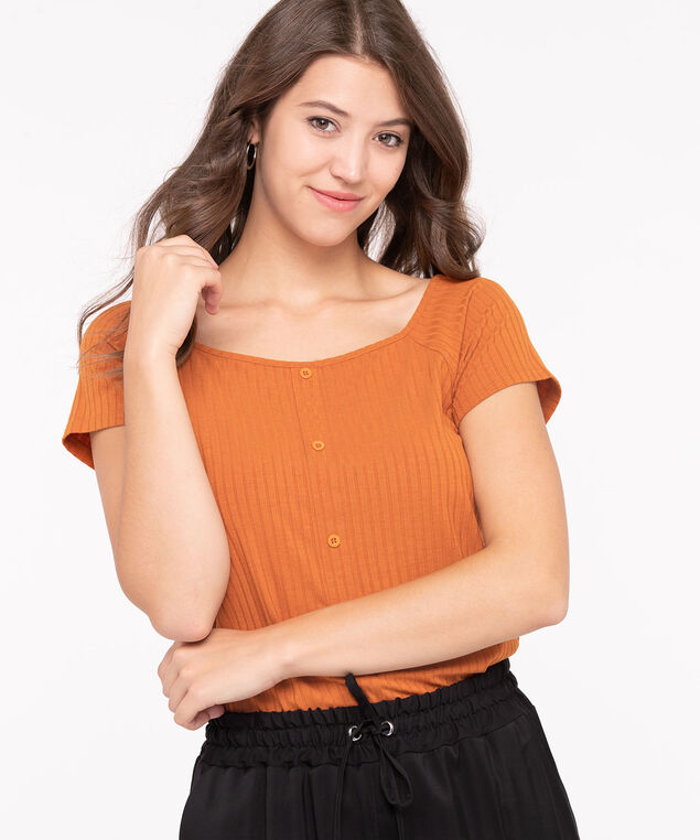 Button Front Square Neck Top, Cayenne